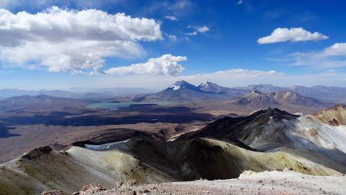 Parinacota and Pomerape from Acotango summit