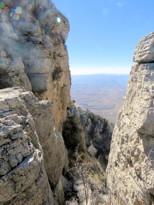Below the summit of Hunter Peak