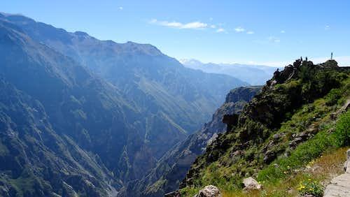 Looking up Colca Canyon near Mirador Cruz del Cóndor