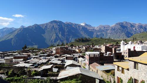 Looking over Cabanaconde towards Colca Canyon and Nevado Sepregina