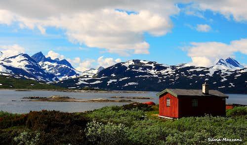 Mountain scenery while driving along  Lake Koldedals