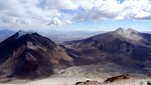 Volcán Capurata (left) and Guallatiri from Acotango summit