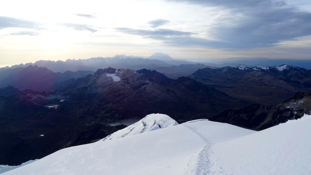 Descending Huayna Potosi, looking towards Illimani