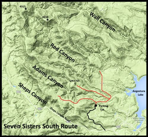 Seven Sisters Range South Route Options