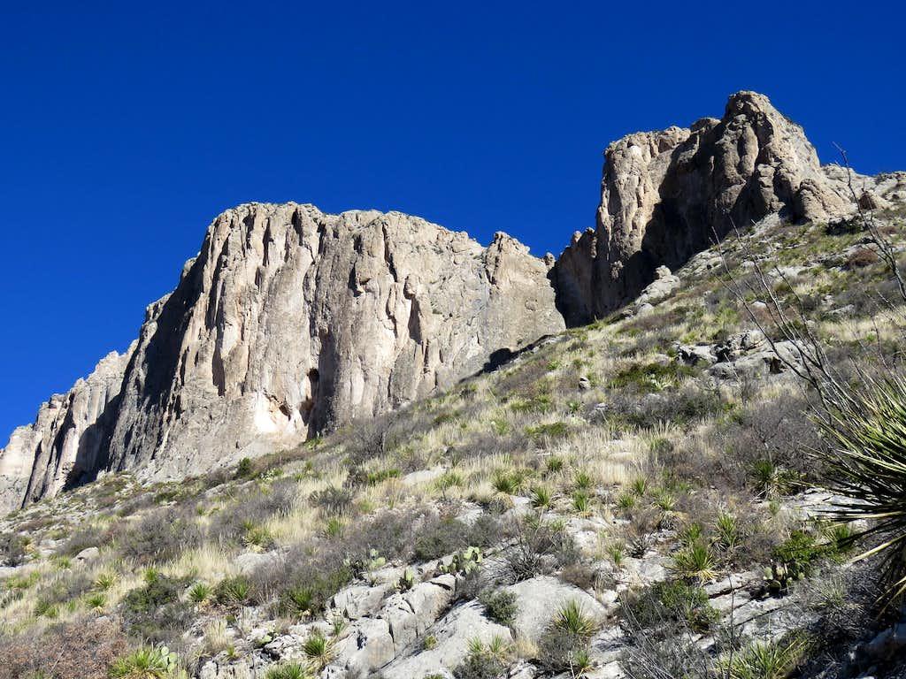 Cliffs above trail