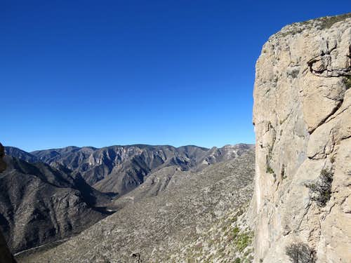 Halfway up the cliffs, McKittrick Canyon seen