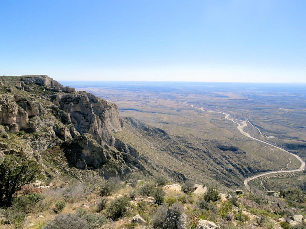Outlet of McKittrick Canyon, from the top plateau