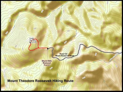 Mount Theodore Roosevelt Trail Route Map