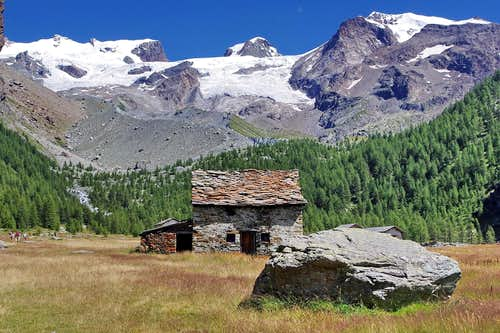 View of Monte Rosa Group from Pian di Verra Inferiore