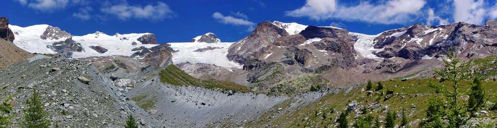 Moraines, glaciers and summits of Monte Rosa Group