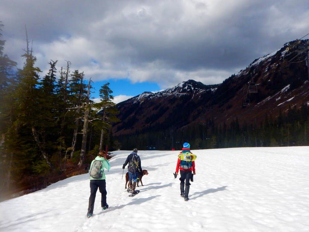 walking down Log Jam ski run