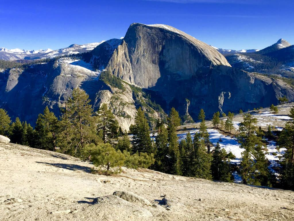 Half Dome from the North Dome area in January
