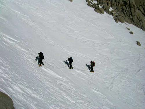 Halfway up the couloir on the...