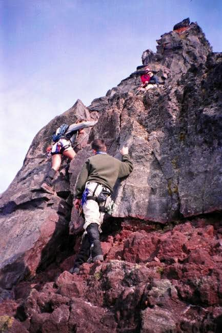 The crux of the NW ridge....