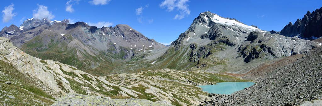 From left: Grand Combin, Mont Avril and Mont Gelè