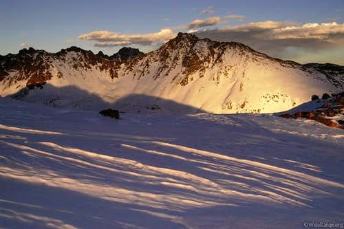 Sunset lighting on Snow Peak,...