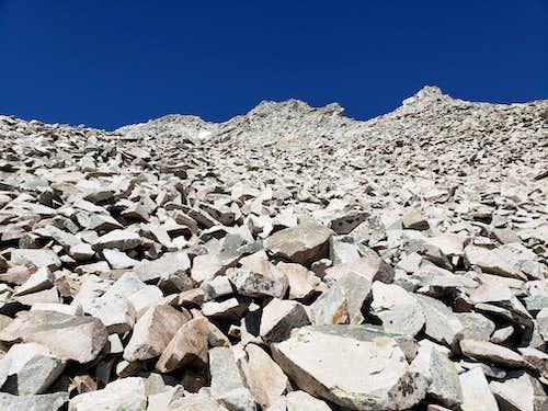 Steep scree slopes