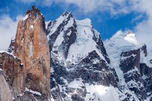 Nameless tower and the Trango II and I peaks