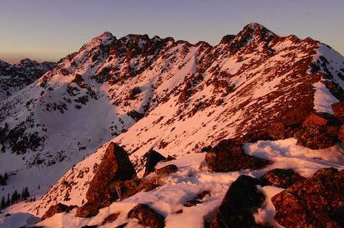 Sunset alpenglow on Grand...