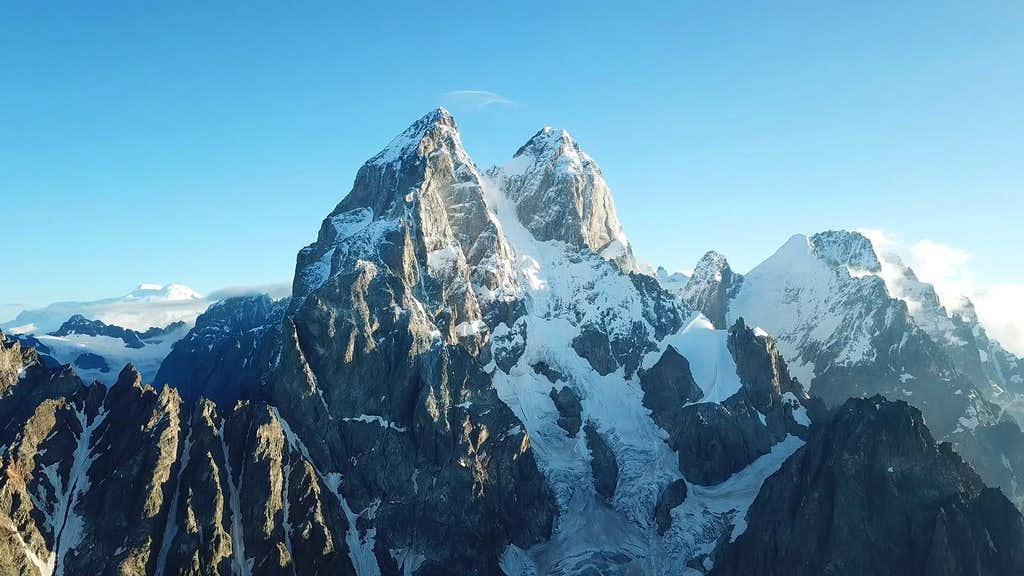 Ushba dominates the whole Caucasus range - Elbrus bihind