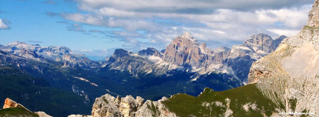 Panorama Dolomites with Tofana di Rozes in the middle seen from Torre dei Sabbioni
