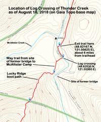 Gaia topo -- location of log crossing of Thunder Creek