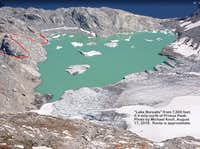 Photo -- Lake Borealis, bivi site, and start of route; from 7,000 ft, 0.41 mi N of Primus