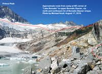 Photo -- route from camp to upper Borealis Glacier