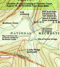 USGS topo -- location of log crossing of Thunder Creek