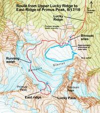 USGS topo -- route from upper Lucky Ridge to East Ridge of Primus Peak