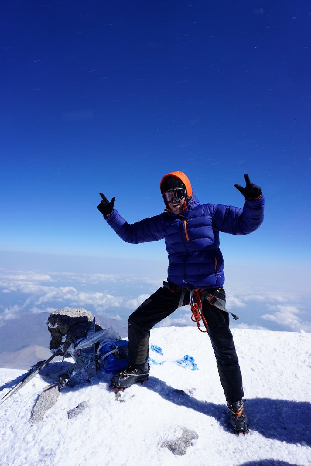 On the summit of Mount Elbrus (5642m)
