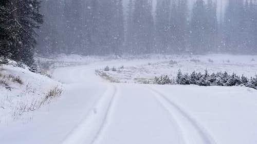 Medicine Bow Peak snowy road
