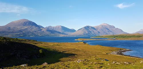 Beinn Alligin, Beinn Dearg and Liathach over Upper Loch Torridon