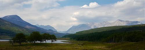 Sgurr Dubh, Liathach and Beinn Eighe from Loch Coulin
