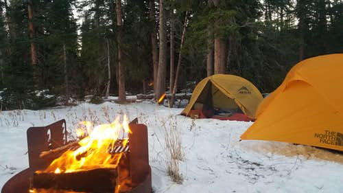 Camp after retreating from the Western wind blasting on Medicine Bow