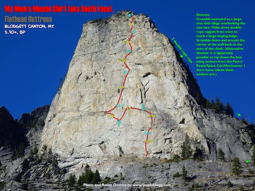 Route Overlay Flathead Buttress My Mom's Muscle Shirt (Blodgett Canyon, MT)
