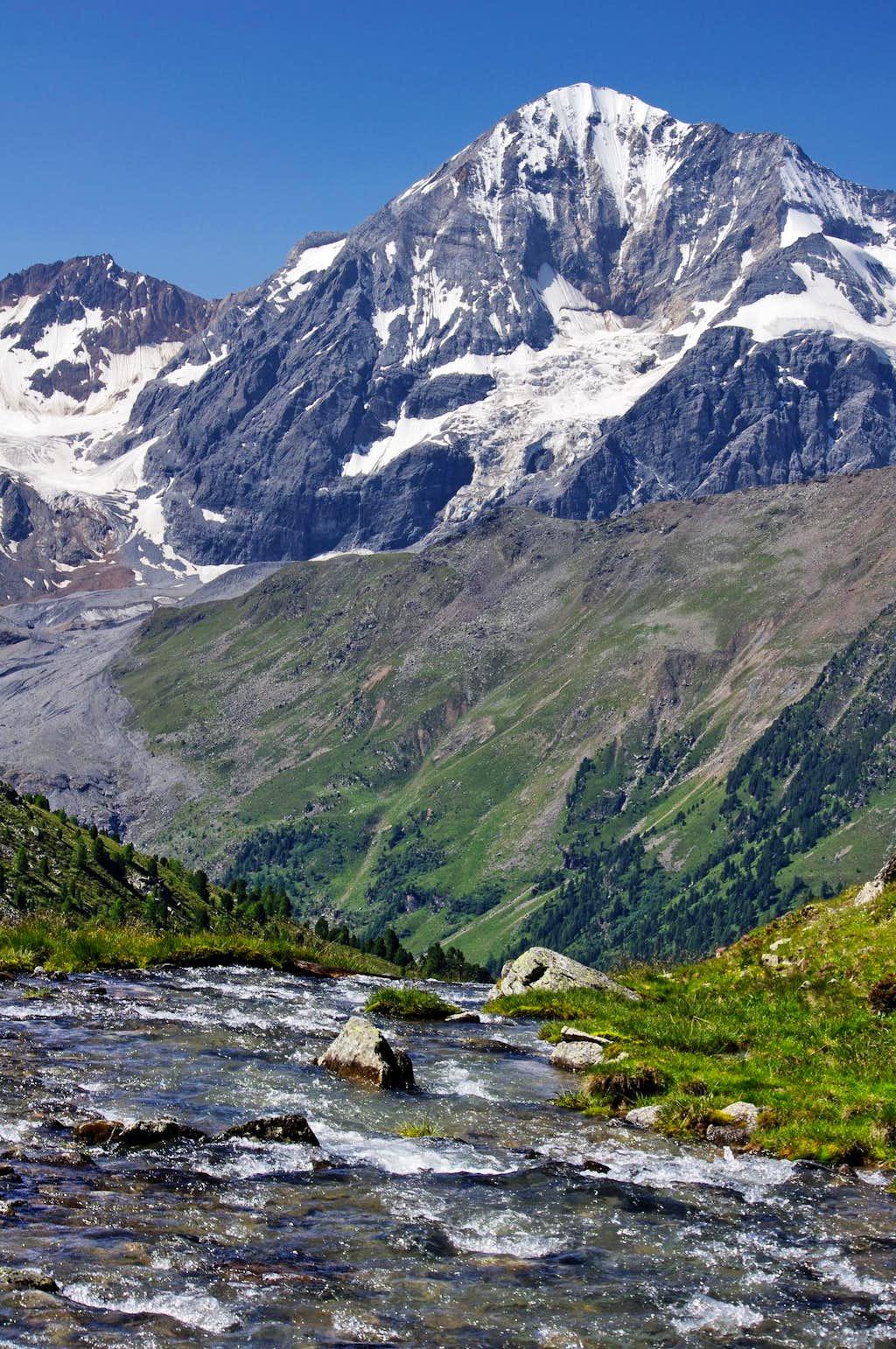 Gran Zebrù (Koenig Spitze) seen from Zai valley