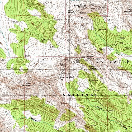 Miller Mountain and Crown Butte Map
