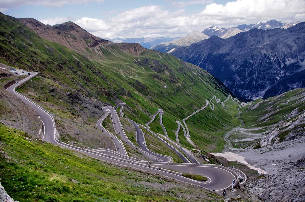 The winding road of Passo dello Stelvio and N-E sector of Ortles group