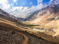 Cerro El Plomo and its Iver Glacier in the distance