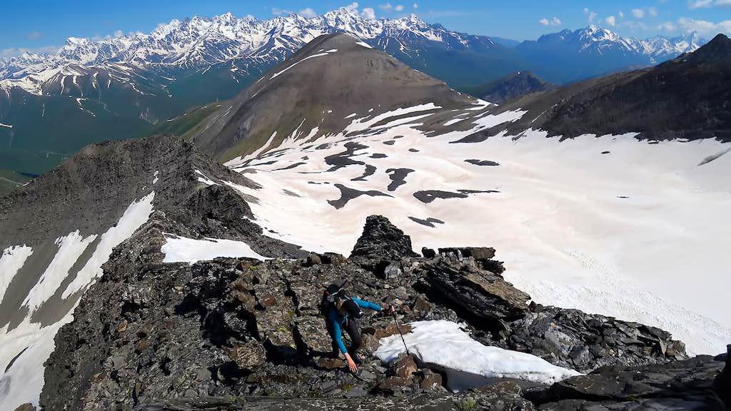 Climbing the rocky part of Mount Khalatsa route