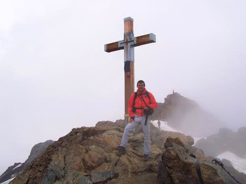 At the summit cross of Monte Vioz