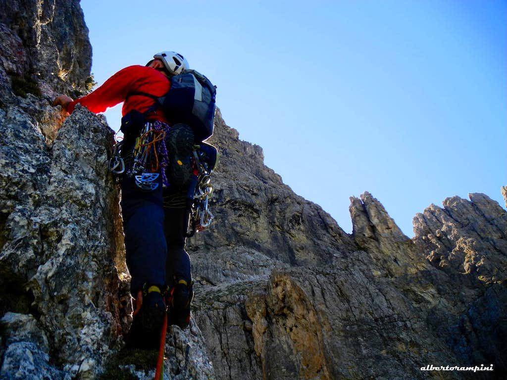 Climbing on Torre Orientale Meisules dala Biesces