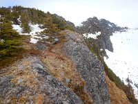 Looking up ridge scramble