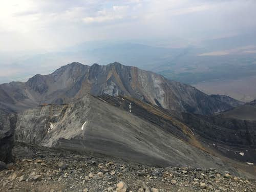 Borah summit - looking down on top of the Sawtooths
