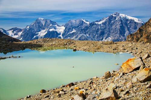 At the glacial lake below the Zay glacier