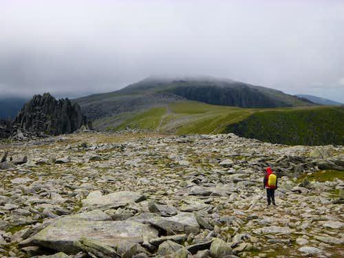 Ken approaches the top of Glyder Fach