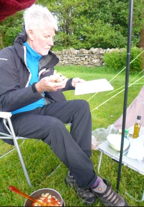 Ken preps our dinner at the campsite