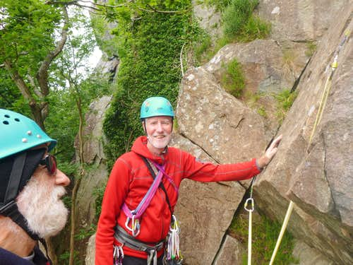 Roping up for Yogi VS 4b at Tremadog