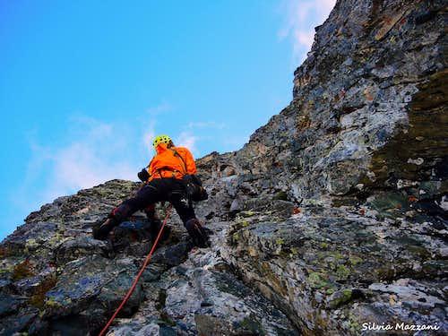 Climbing Via dei Diedri, Roc della Niera